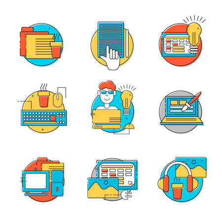 HTML coder icons set. Colorful creative HTML line icons in circles. Vector illustrations for business, corporate design, computer store. HTML line style design. Icons for web, print and mobile.