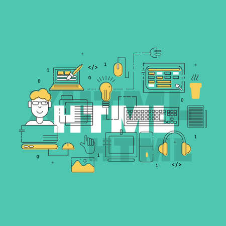 coder: HTML coder creative banner. Colorful HTML line icons composition. Vector illustrations for business, corporate design, computer store. Illustration