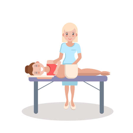 Pregnant massage and health care. Wellness treatment massage. Relaxing massage for pregnant women. Medical worker doing massage for pregnant women.