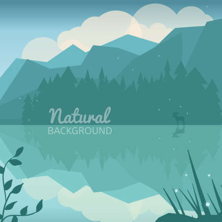 coniferous: Green nature background. Nature landscape of forest, lake and mountains. Coniferous landscape. Low polygon style wild nature background.