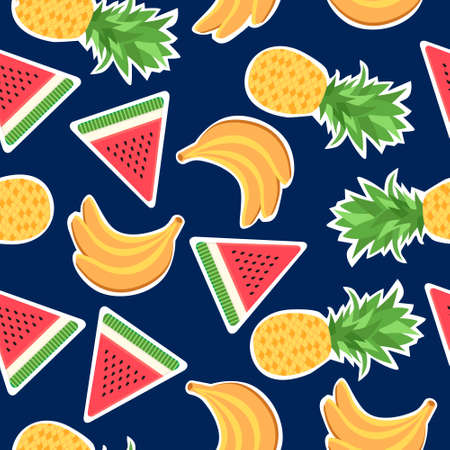 Seamless pattern with fashion patches. Background with banana, pineapple and watermelon. Stickers and patches vector background. Stickers, pins and patches in cartoon 80s-90s comic style.