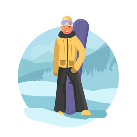 Snowboarder guy flat style. Winter srort concept illustration. Man with snowbard on winter background. Vector illustration in circle shape. Illustration