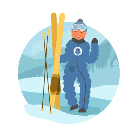 Skier child flat vector illustration. Little boy skiing concept. Happy child on winter holidays. Boy with skis on natural winter background. Illustration
