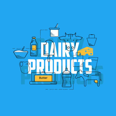 milk production: Dairy products line icons set. Dairy icons on blue background. Set of milk products logos and labels for farming and production. Dairy products concept illustration.