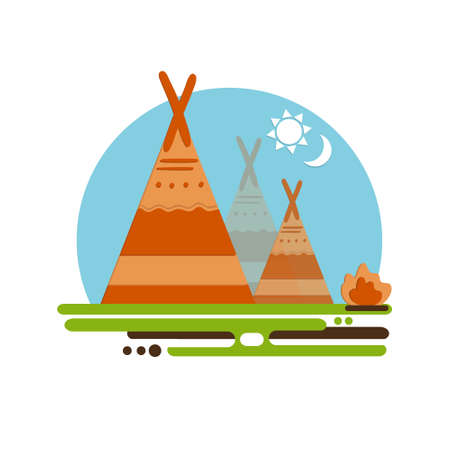 Indian teepee vector concept. Native American Indian house. Indian culture wigwam. Indian tent with fire place. Illustration
