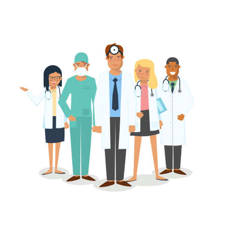 Doctors and surgeons set. Set of medical workers isolated on white background. Men and women doctors. Team of doctors stand together. Vettoriali