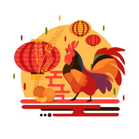 中国の旧正月 2017 オンドリのコンセプトです。オンドリ、マンダリン中国のランタンとフラット スタイルの iilustration。クリスマスと新年パーティー