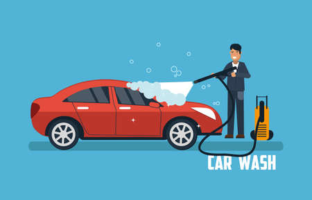 Car wash banner. Man washing car vector illustration. Car wash concept with sport red car. Çizim