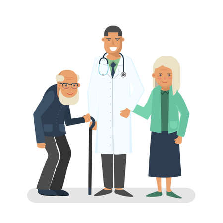 Pensioners with doctor vector illustration. Old man and lady with doctor. Care for the elderly concept illustration. Illustration