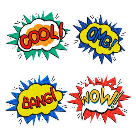 ouch: Pop art logo set. Retro style concept phrases. Vector pop art illustration. Comic style logos. Pop art comics icons wow, cool, omg, bang. Comic speech bubbles.