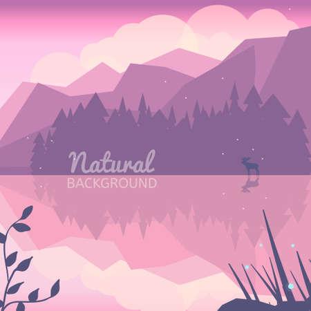 Twilight northen background. Northen lights concept illustration. Nature landscape with mountains, lake, forest and deer. Pink landscape.