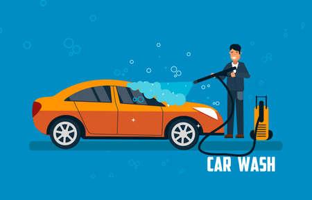 car: Car wash banner. Man washing car vector illustration. Car wash concept with sport orange car. Illustration