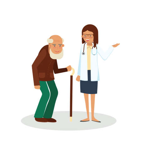 Pensioner with doctor. Old man with doctor. Care for the elderly vector illustration. Old man and young doctor woman on white background. Illustration