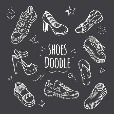 shoelace: Boots doodle collection. Set of doodle shoes with sneakers, loafers, flip flops and sandals.Vector black and white illustration. Illustration