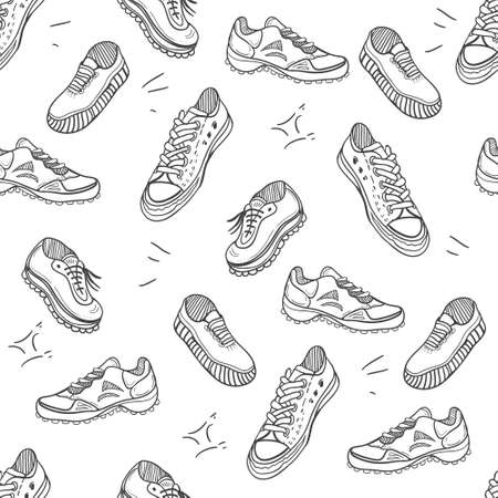 Boots doodle pattern. Background with doodle shoes with sneakers, loafers and sport boots.Vector black and white illustration.