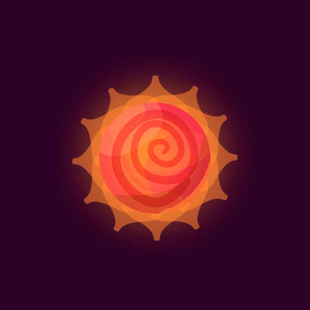 Fantasy sun logo. Flat style vector illustration for games and apps. Orange sun on black background.