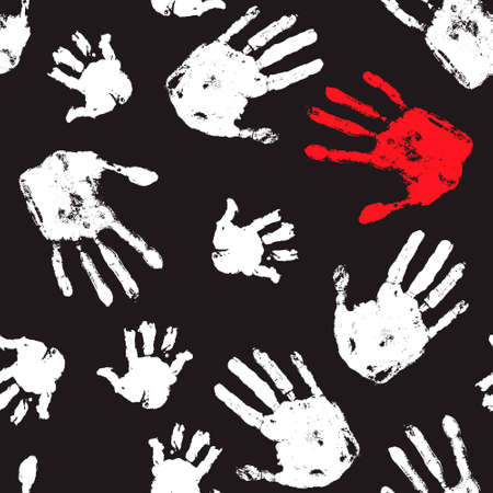 Social problems seamless pattern. Violence pattern. Handprint horror background. Design for social organization.