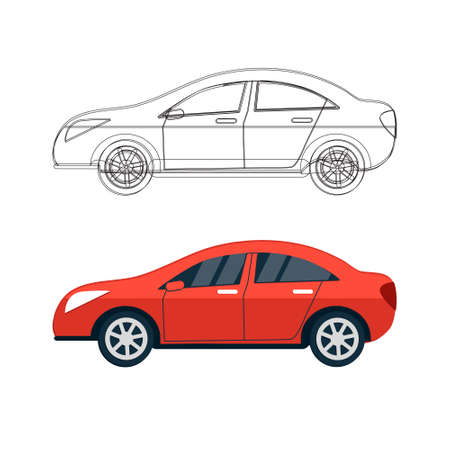 Set of car silhouettes, outlines, contours. Sport car sketch concept. Sport automobile vector illustration. Red machine isolated on white background