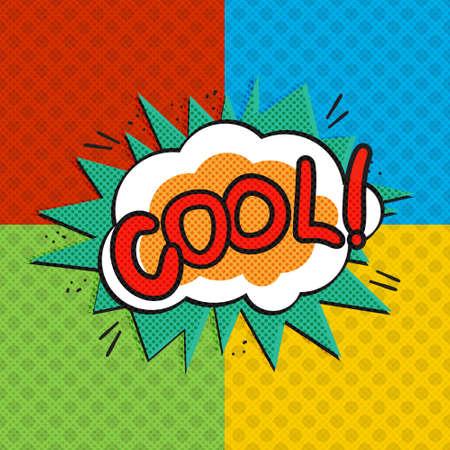 Pop art cool logo. Retro style poster. Vector pop art illustration. Comic style logo.