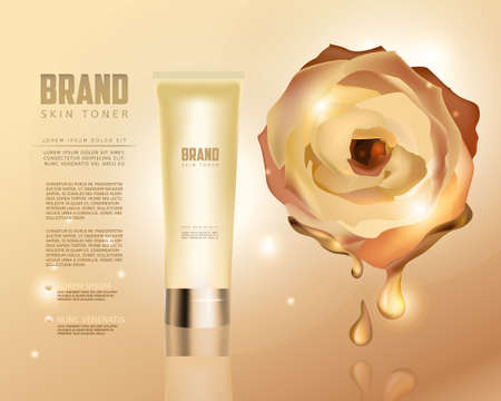 humidify: Skin toner contained in tube on golden background with rose. 3D vector illustration. Skin toner ads template. Make-up, clean skin concept. Illustration