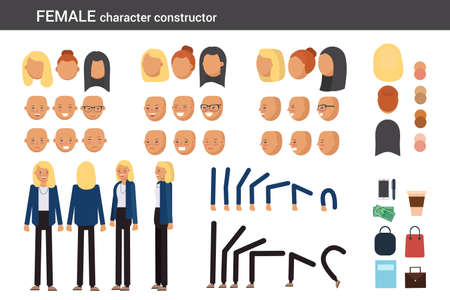 Female character constructor for different poses. Set of various womens faces, hairstyles, hands, legs and accessories. Vector flat style illustration.