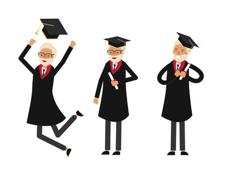 online degree: Group of graduate students. Old man graduate. Grandfathers graduation. Happy old student vector illustration.