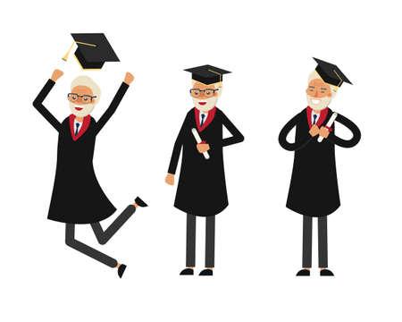 Grupo de estudiantes graduados. Antiguo graduado. Graduación de los abuelos. Feliz viejo estudiante ilustración vectorial.