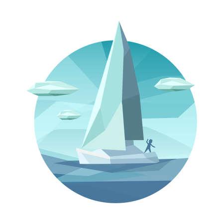 ローポリゴンのセーリング船アイコン。創造的な低多角形のベクトル図です。男性低ポリゴン スタイルの海でボートに乗って。トレンディなアイコ