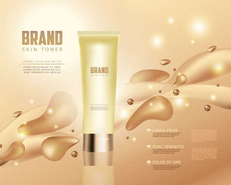 humidify: Skin toner contained in tube on golden background. 3D vector illustration. Skin toner ads template. Make-up, clean skin concept.