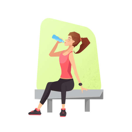 Exhausted woman dehydrated feeling exhaustion and dehydration from working out at gym. Female siting on a bench and drinking water. Vector illustration. Illustration