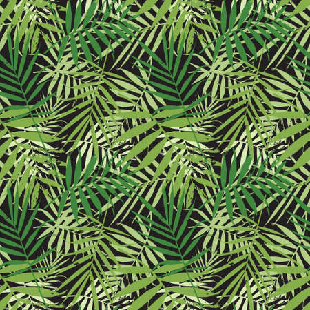 Tropical palm leaves, jungle leaves seamless vector floral pattern.