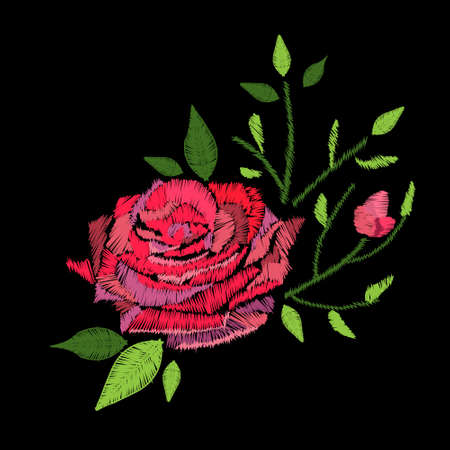 Embroidery stitches with rose flower. Vector fashion ornament on black background for fabric.