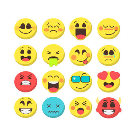 Cartoon emoji premium collection. Set of emoticons with different mood. Flat style vector icons isolated on white background. Creative trendy illustration.