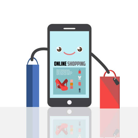 Online shopping concept illustration with happy smartphone. E-commerce business concept. Online shopping creative vector illustration. Smartphone with shopping bags. Illustration