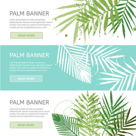 Palm leaves banner template. Creative trendy banners with place for your text. Vector concept illustration. Horizontal banners set.