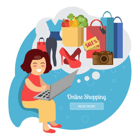 Woman making online purchases. Online shopping concept with happy woman. E-commerce concept illustration. Online shopping creative vector illustration. Illustration