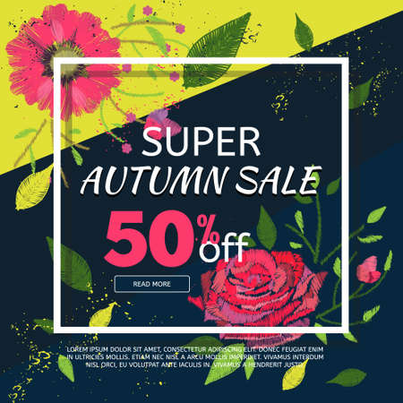 Autumn sale banner template with embroidery flowers. Season sale concept template. Vector advertisement banner.