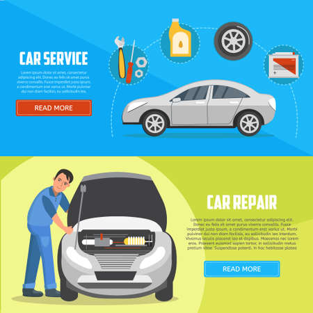 Flat horizontal banners with car mechanic. Car service and car repair vector banners. Auto service business concept illustration. Illustration