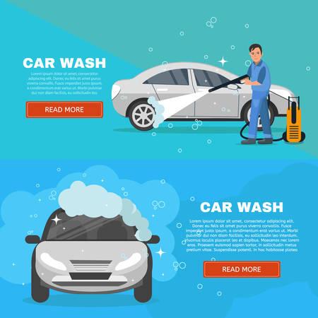 Vector concept car wash service illustration. Car washing concept horizontal banners set. Man worker washing car vector illustration.