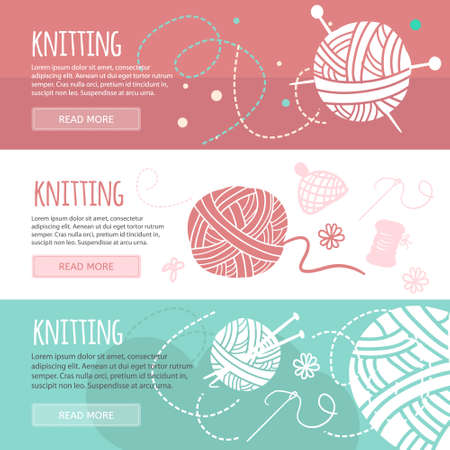 Knitting and sewing horizontal banners set. Creative trendy concept for business. Knitting banners with hand drawn doodle elements.