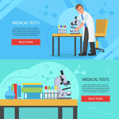 Medical laboratory concept banners. Laboratory assistant works in scientific medical chemical or biological lab, doing medical tests.