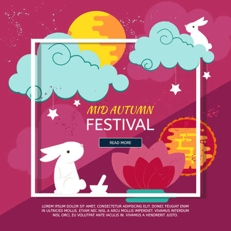 Chinese mid autumn festival design with rabbits, full moon and clouds.