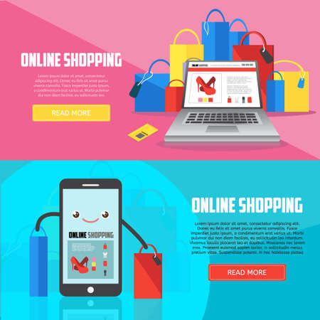 Online shopping horizontal banners with laptop, smartphone and purchases. E-commerce business concept.