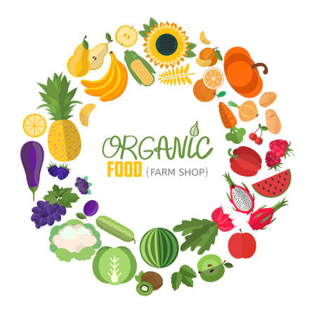 Vector vegetables and fruits illustration. Circle frame with fruit and vegetable icons.