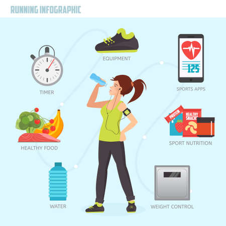 Running concept infographic. Fitness woman drinking water after running. Creative flat vector icons of healthy lifestyle, fitness and physical activity. Healthy lifestyle concept.