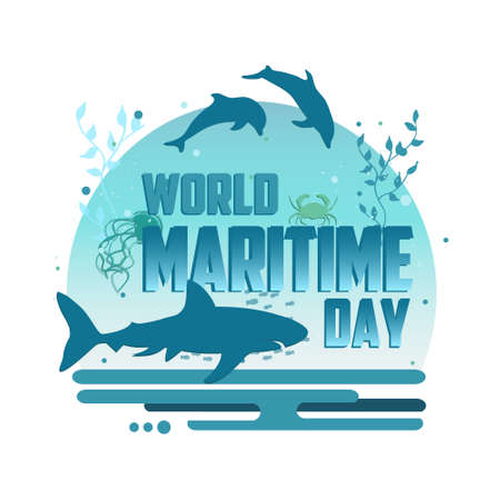 World maritime day vector concept poster. World oceans day creative illustration. Underwater style poster. Illustration