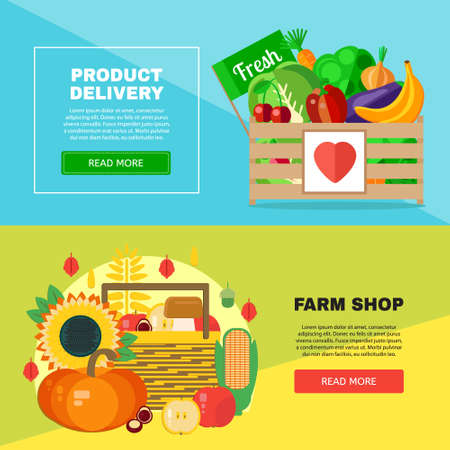 Farm shop delivery banners set. Vector concept with farm products. Farmer shop creative banner template.