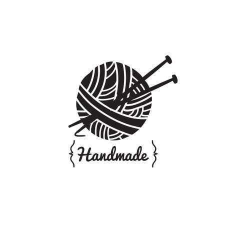 Vector sign ball of yarn with knitting tools. Retro logo for local sewing shop, knit club, handmade artist or knitwear company. Handmade concept logo.