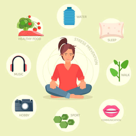 Stress prevention vector infographic. Easy ways to manage stress. Woman doing yoga. Vector concept illustration. Illustration