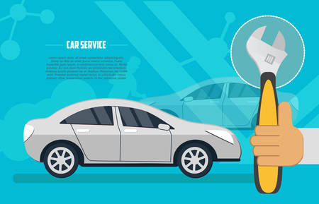Flat horizontal banner for car repair services. Car service and repair vector banner. Auto service business concept illustration.
